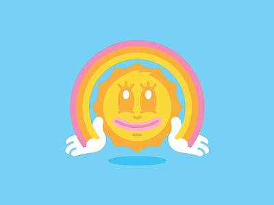 Mr Bright Side   Art design illustration line vector sunny rainbow character face smiley face cartoon sun