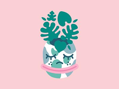Bliss   Art design vector abstract character design cartoon design cartoon character smiley face leafs leaf monstera leaf monstera pot flower pot