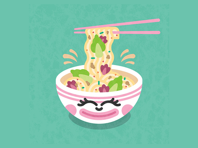 Tan Tan Ramen   Neko Neko, Melbourne vector cartoon design chop sticks noodles character design cartoon character japanese bowl ramen illustration