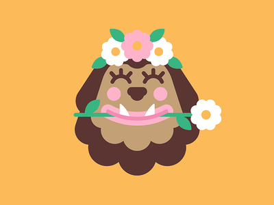 Flower Child   Art smiley face happy cartoon characterdesign character illustration character daisy flower crown flower big foot monstera