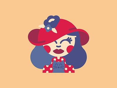 Lady in red   Art vector hair polka dot cat illustration design cartoon character design character illustration character summer hat flower hat hat