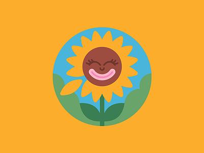 She loves me   Art illustration smiley face sunny summer petals leaves cartoon character vector badge sun flower sun flower