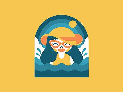 Beach Babe   Art smile cartoon character clouds badge vector summer hat swimming swinsuit splash waves surf sun beach