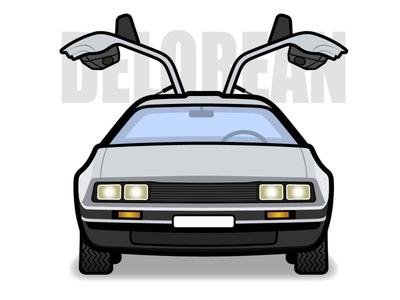 DeLorean cmc branding car illustration