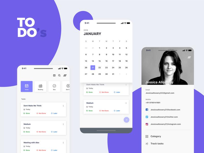 Todo Reminder App ux card view reminder app ui simple design task task app calendar menu