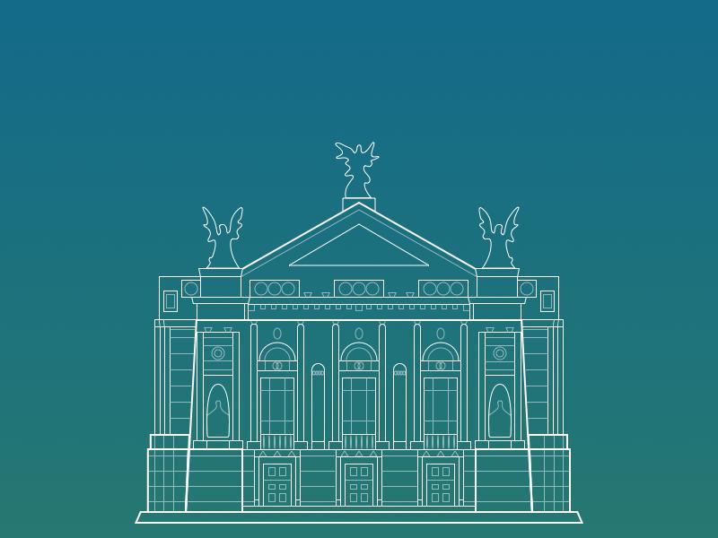 Lviv Opera illustration monoline theater opera building architecture