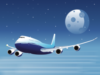 Boeing 747 illustration flight moon sky aircraft airplane plane boeing boeing747