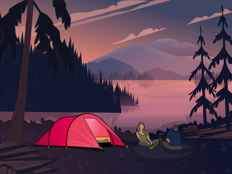 Camping illustration couple relax sky mountains trees evening tent nature lake wood camping