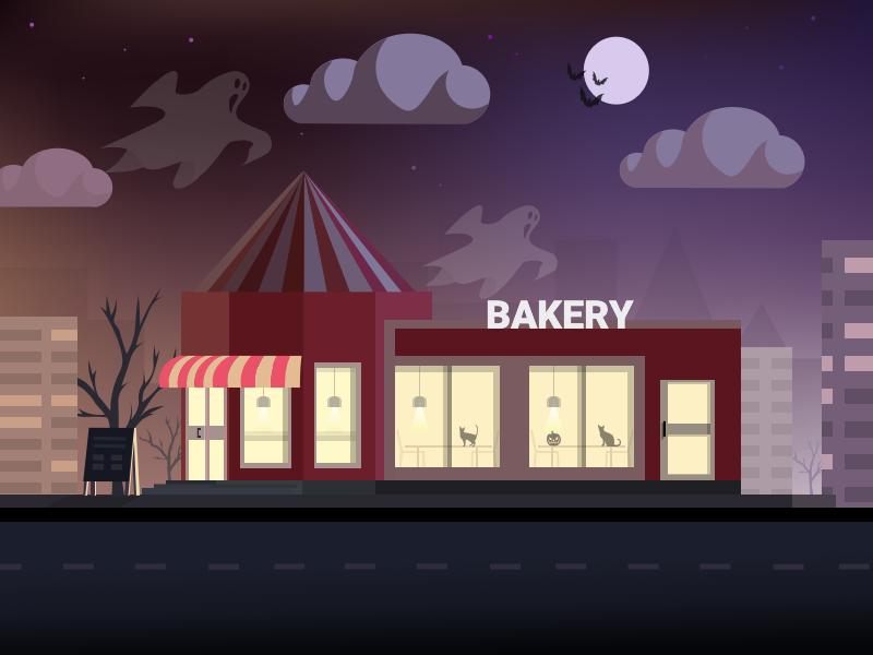 Halloween night at the Bakery october31 flat illustration fall full-moon night sky cloud ghost bakery halloween