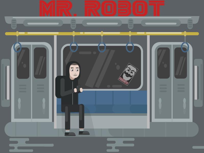 Mr. Robot illustration tech show elliot fsociety subway flat code hacker mrrobot