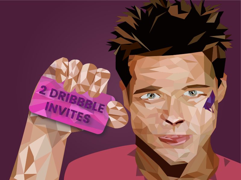 Fight Club draft character movie illustration lowpoly fightclub bradpit tylerdurden share giveaway invites dribbbleinvite