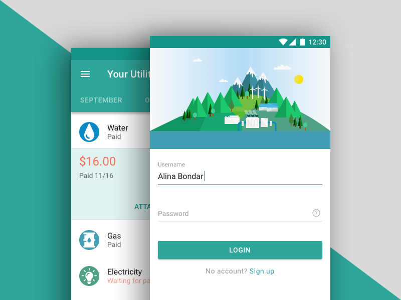 Public utility mobile app project ui flat utility public android application mobile google materialdesign