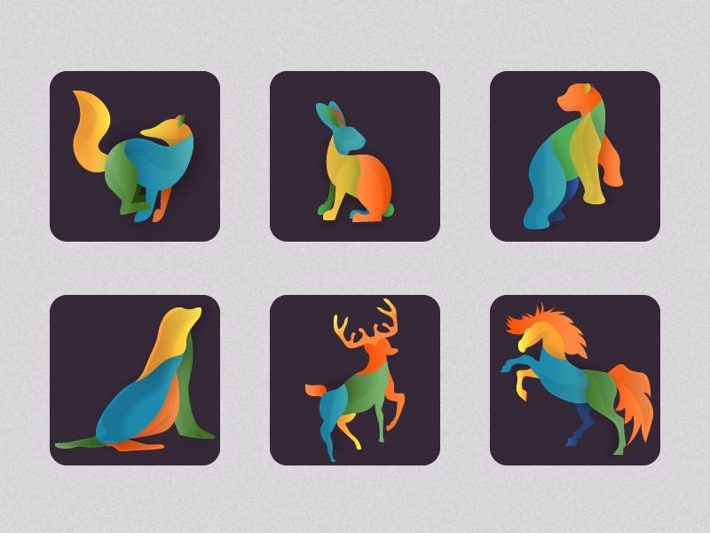 Animals Icons  bear horse deer season rabbit fox colorful worldwild style gradient animals icons