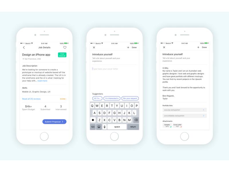 Freelance app mobile proposal interface profile job application clients freelance design ui ios iphone