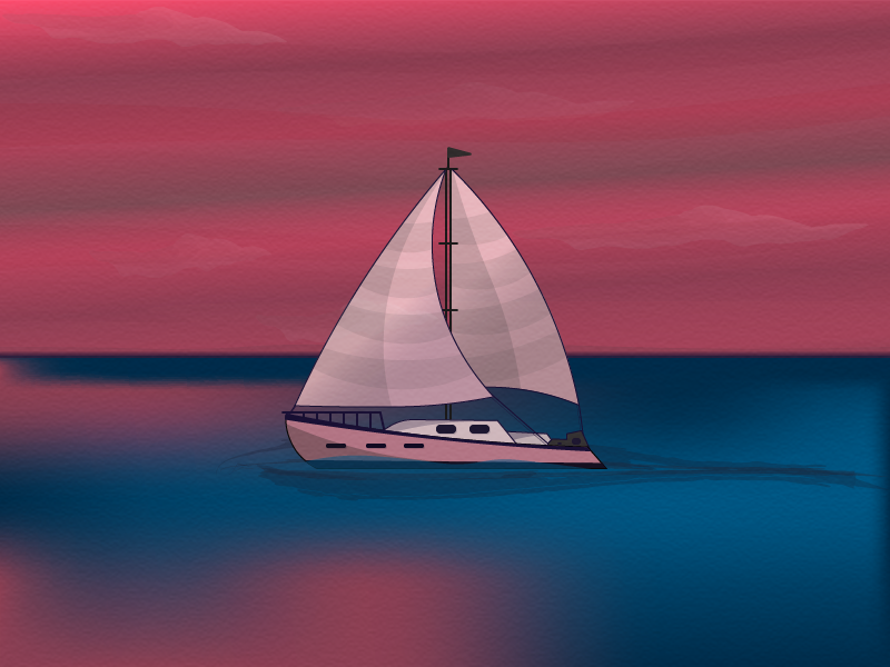 Sunset and boat practice vector drawing august summer sea sunset boat illustration