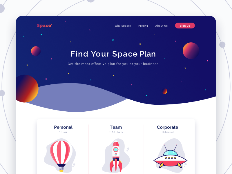 Pricing Page — Space personal corporate team storage web desktop space plans pricing landing
