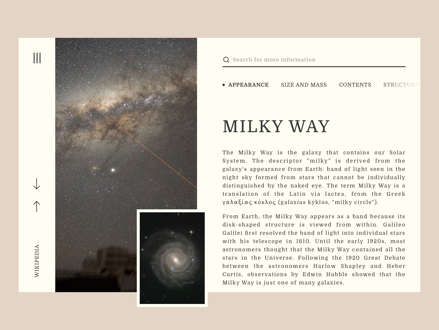 Wikipedia Redesign webdedisgn menu bar encyclopedia visualdesign stars space text box landingpage webdesign article desctop wikipedia redesign uidesign