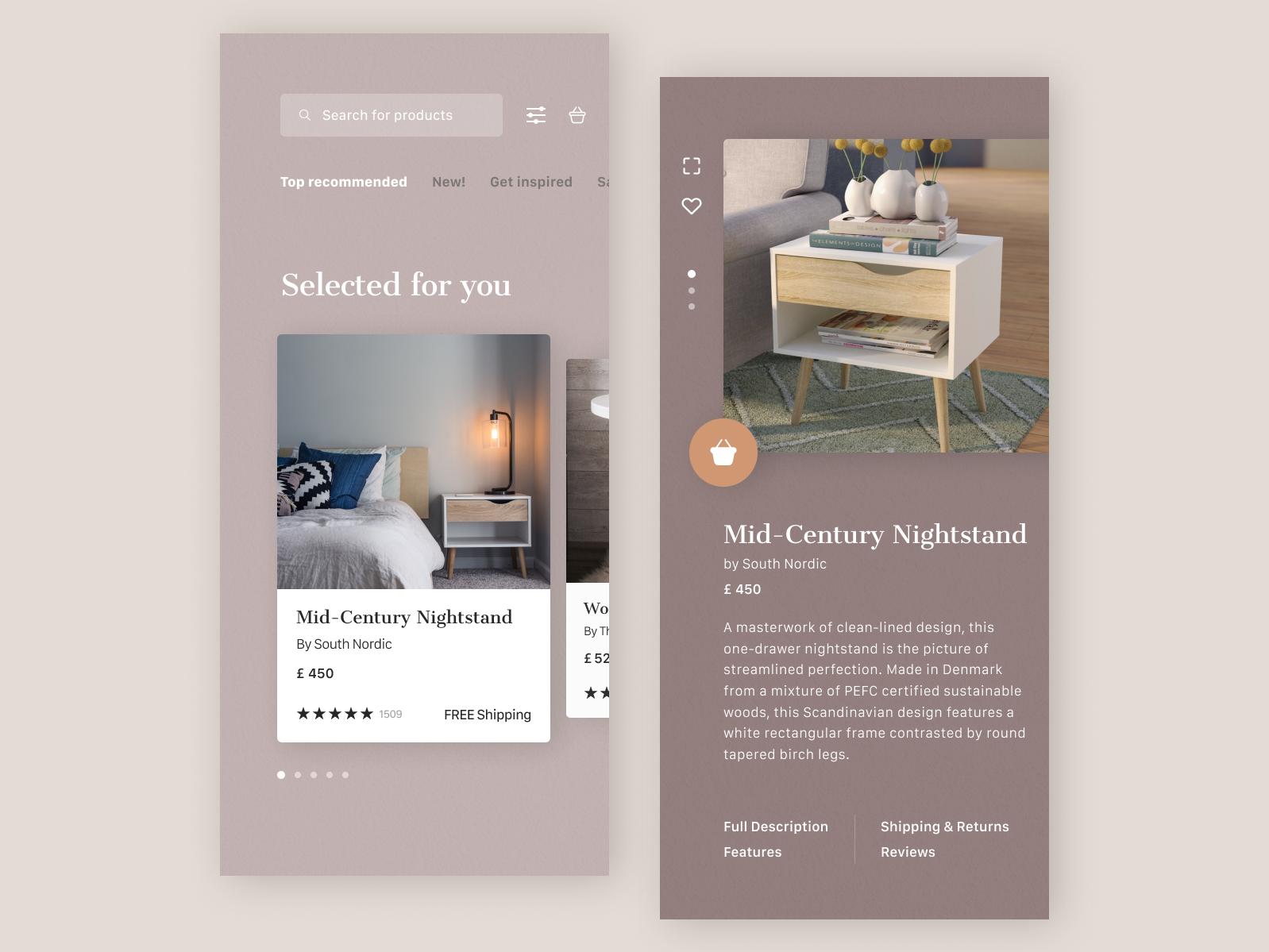 E-commerce app store design rebound ui design online shopping typogaphy e-commerce furniture ux design application mobile