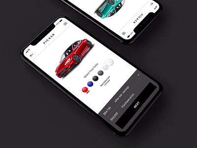 Customized Color for Tesla minimal explore adobexd xddailychallenge vehicle design car app animation app tesla mockup ios colorpicker change color colorscheme iteration motion mobile