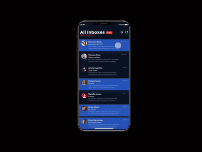 Email Client 2 | Mobile App | iOS client presents template userexperiance ios list view inbox archive manage email app iteration animation xddailychallenge adobexd motion application mobile