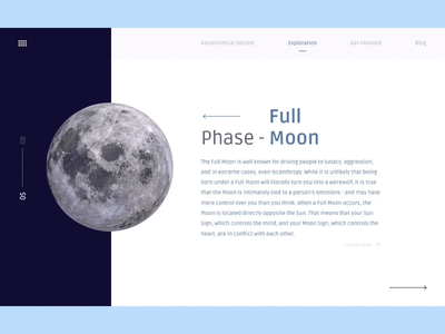 Moon Phases Flow product designs figma motion design webdesign product design explore phases planet universe nasa moon animation iterations