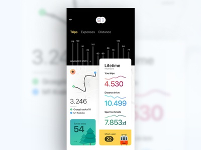 Statistics - Public Transport app statistics design interface ios iphone mobile chart train tram transport ui