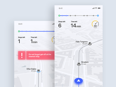 Navigation - public transport navigation app application design interface ios iphone route train tram transport ui
