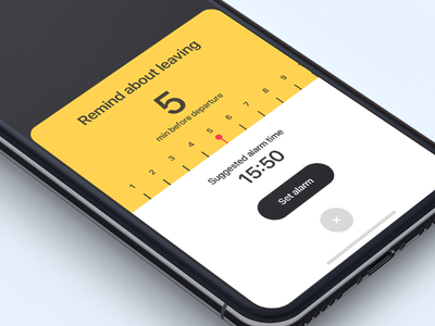 Remind about leaving time reminder app application design interface ios iphone alarm transport ui