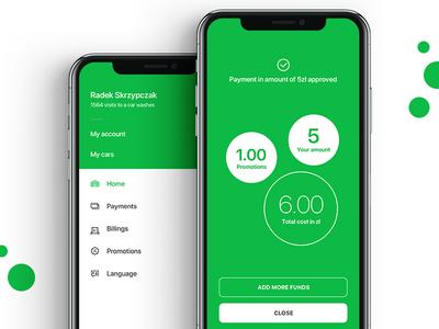 Menu and payment confirmation menu payment app design ux apple iphone wash car wash ui