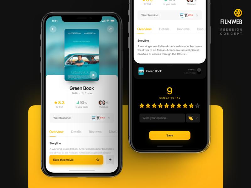 Rate the movie - Filmweb cinema rate rating tv movie app theater movie interface design ios ux app iphone ui