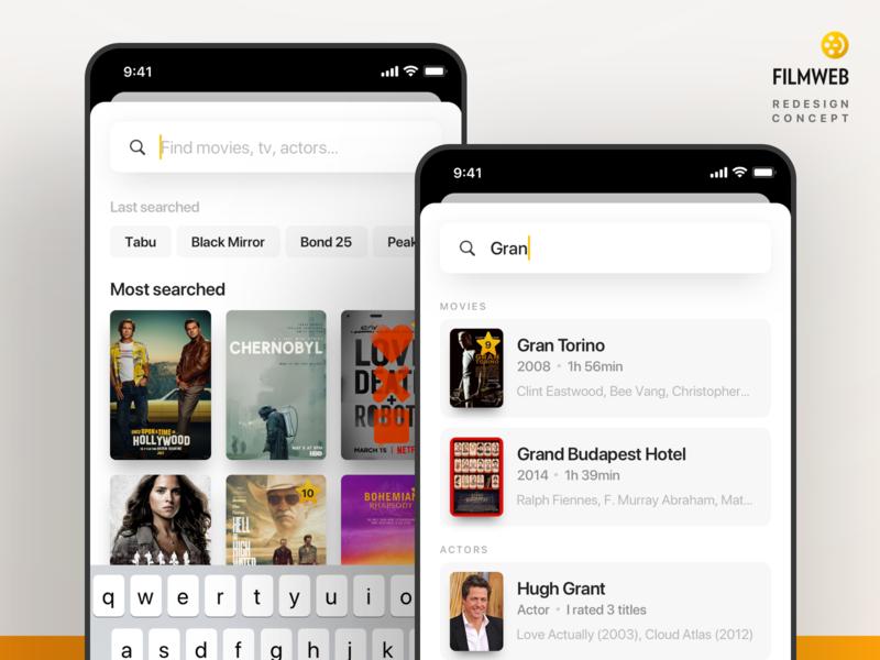 Search screen - Filmweb concept application cinema design ux mobile tv movies filmweb ios app interface ui design iphone ui