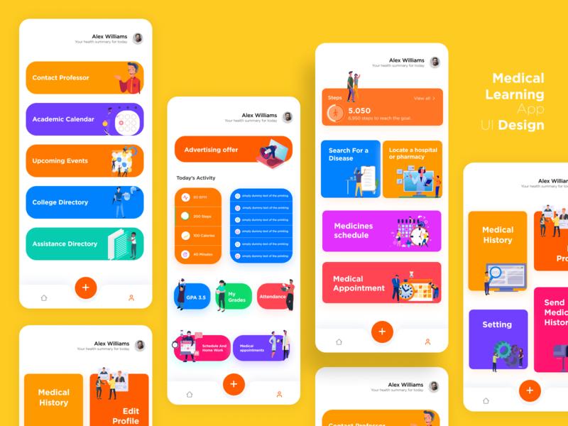 Medical Learning App UI Design college learning medical mobile app uidesign illustration design ui