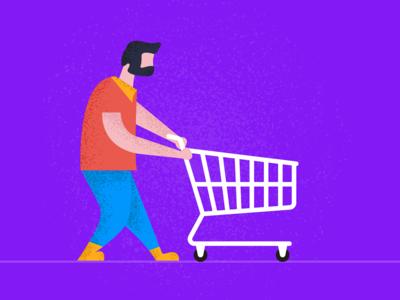 Flat Design Shopping Character Illustration in Adobe Illustrator
