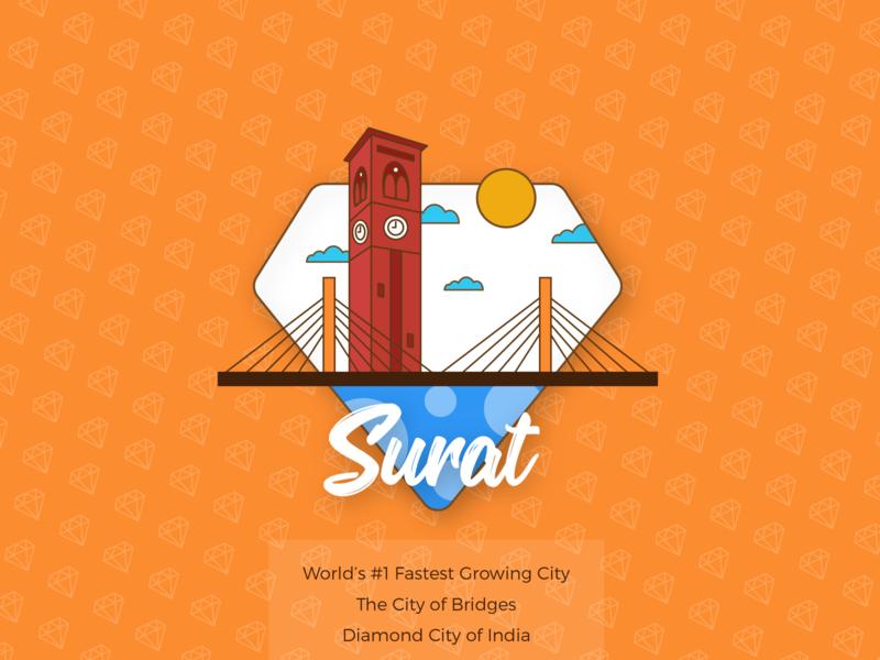 Surat – The City of Bridges   Weekly Warm-Up! drawing gujarat symbol cityscape art ux logo icon design vector illustration city illustration city