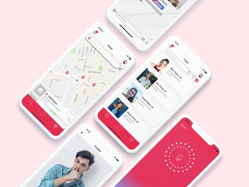 Dating app UI Design Concept chatting user balvantahir location voice chat discover profile android ios dating app design minimal app mobile app uiux ui