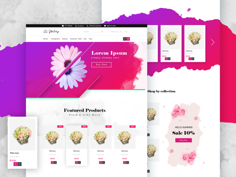 Flower Shop Landing Page Template Design market uidesign theme design ui template shopping shop flower