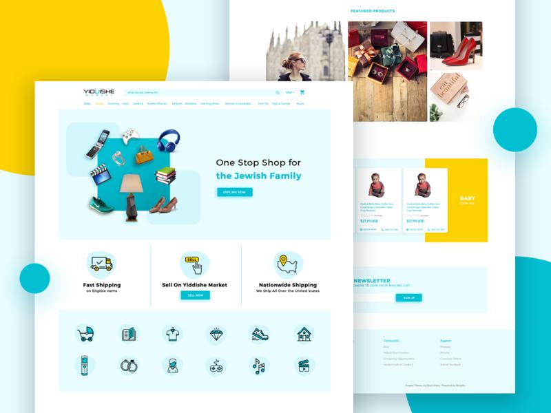 E-commerce Site website UI Design Concept store jewish flat web shop icon shopping cart shopping shop user interface figma ecommerce ux ui