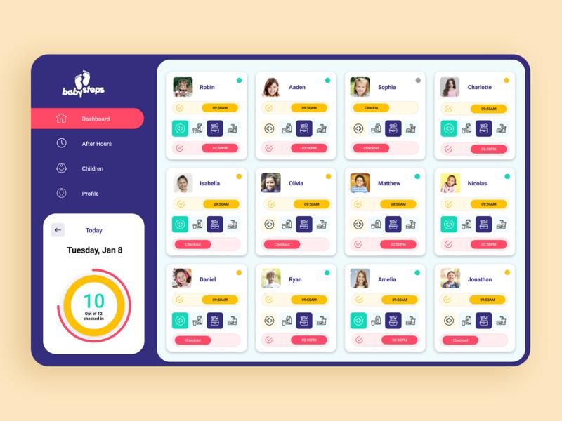 kindergarten Kids Dashboard UI Design   Figma Design kids art colour admin school figma kids app uidesign ui kindergarten