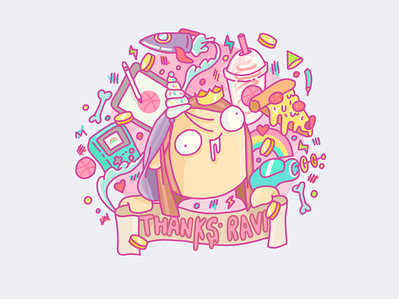 Hello, is it me you're looking for.. rainbow pizza game boy retro strange pink colourful weird design illustration