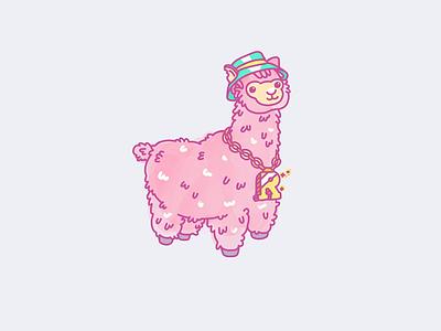 If this isn't cute alpaca my stuff fluffy bling sweet illustration colourful pink alpaca llama cute
