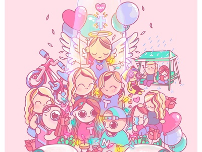 Memory Mural pastel graphics graphic art pink illustration design cute animation colourful