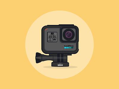 Go Pro Hero 5 Black flat app vector design hero 5 go pro film camera illustration video black gopro