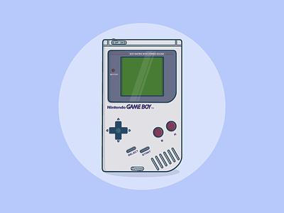 Nintendo Gameboy blue nintendo gameboy flat web vector icon ui design illustration