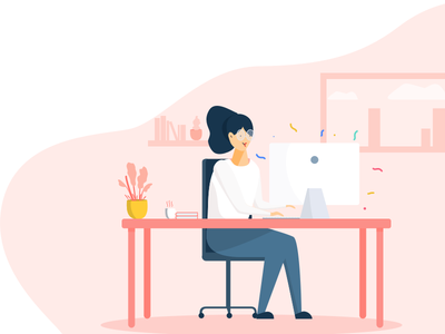 Business woman at office womansday workspace workplace work imac office illustration woman working business