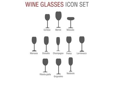 Wine glasses icon set