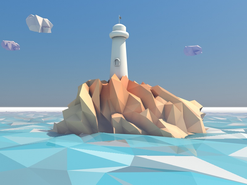 Lighthouse in low poly world low poly 3d lowpoly cinema4d render c4d industrial scene poster fantasy shapes experiments illustration iphone wallpaper free freebie lighthouse see water iphone4 iphone5 retina cinema 4d