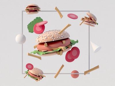 Hamburger minimal c4d uiux texture interface landingpage app 3dsmax web design motion food video 3d animation render landing page game isometric lowpoly 3d illustration