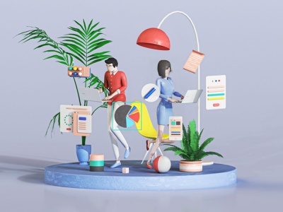 Manage Your Workflow girl texture character teamwork uiux interface c4d 3dsmax motion office branding web design 3d animation render landing page game isometric lowpoly 3d illustration