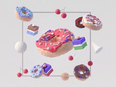 Donut donut motion web design modeling video landingpage interface app uiux web food 3d animation render landing page game isometric lowpoly 3d illustration