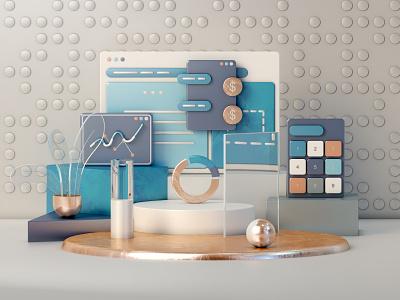 Finance illustration app texture modeling dashboard interface finance layout motion 3danimation uiux webdesig webdesign graphicdesign render game isometric lowpoly 3d illustration landing page